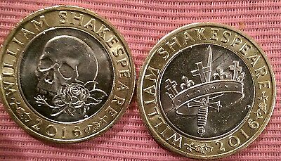 2 x 2016 UK ROYAL MINT WILLIAM SHAKESPEARE  TWO POUND COINS £2