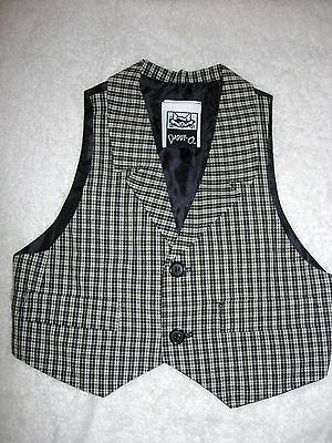 "Size 24 month boys black & ivory check linen 2 button vest by ""Daddy-O"""