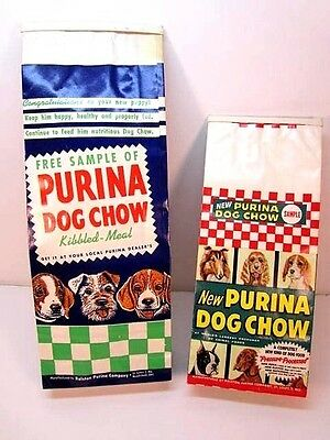 Vintage Lot Of 2 Purina Dog Chow Dog Food Bags Ralston Sample Advertising Bags
