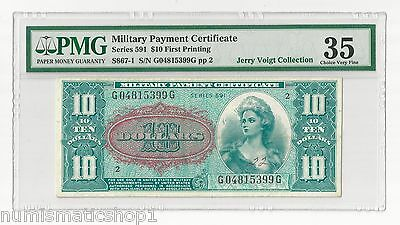 MPC Series 591 $10 Military Payment Certificate – PMG 35 Choice Very Fine