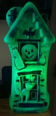 VINTAGE NICE HALLOWEEN HAUNTED HOUSE BLOW MOLD GREEN about 17 inches tall