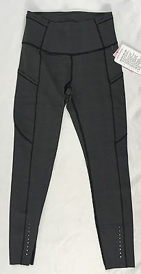 Lululemon Women Fast Free Tight Athletic Leggings Pants NULUX Black Grey DCTC 6