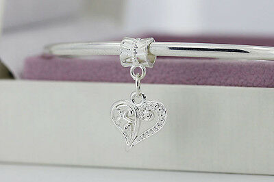 SILVER 925 HEART PENDANT CHARM to fit MOSTLY BRACELET