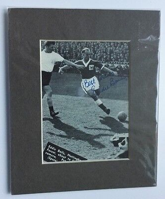 """EDDIE BAILY - NOTTINGHAM FOREST - SIGNED PIC 1950's  6"""" x 5"""" MOUNTED  DISPLAY"""