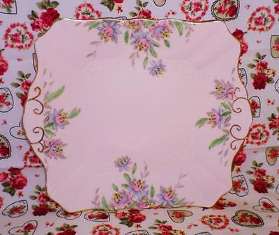 ART DECO China TUSCAN Cake Plate HAND PAINTED Pink VINTAGE Floral GORGEOUS