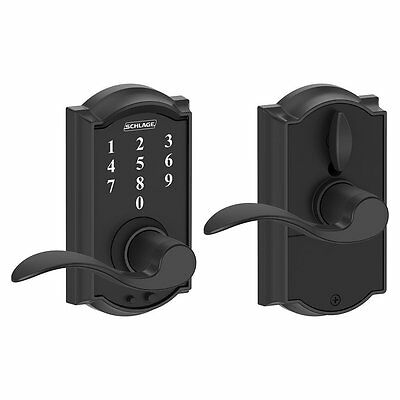 Schlage FE695 CAM 622 ACC Camelot Touch Lock with Accent Lever, Matte Black