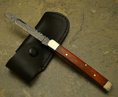 Hand Made Damascus Steel Blade Doctor Knife with Oragne Pokka Wood Handle PKO