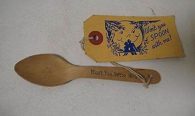 Vintage 1940s SOUVENIR MAILER GAG Won't you Spoon with Me? PROVIDENCE RI