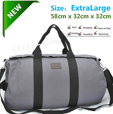 GREY EXTRA LARGE Canvas Carry on School Gym Travel Overnight  Duffle Bag Carbin