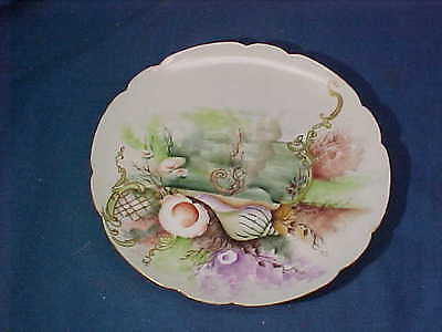 1904 HAVILAND Limoges HAND PAINTED Signed PLATE w Nautical SEASHELL Design # 1