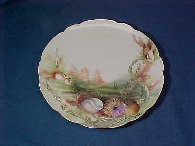 1904 HAVILAND Limoges HAND PAINTED Signed PLATE w Nautical SEASHELL Design # 3