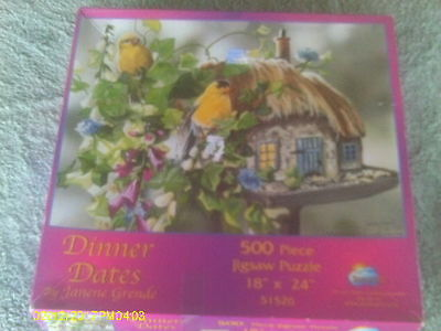 "500+ Piece Puzzle ""Dinner Dates"" Pair of Goldfinches Perched on Bird Feeder"