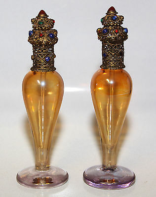 Antique Jeweled Czech Perfume Bottle Pair Marigold Amethyst Glass Signed