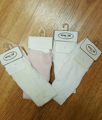 MAYORAL Size 3 mos. BABY SOFT CABLE TYPE /COTTON KNEE-HI Socks!   LOT of 4