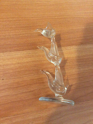 "Vintage Clear Glass Birds Figure 4 1/2"" Tall"