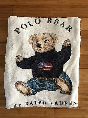 VTG Polo Ralph Lauren Sit Down Sitting Bear Wearing Sweater Beach Towel 92 93
