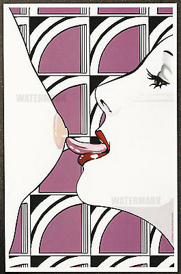 1980's Patrick Nagel Authentic Pin-Up Poster Art Print 11x17 Licking Nipple