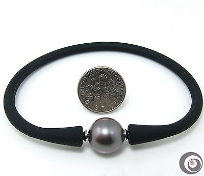 GENUINE 12.0mm TAHITIAN SOUTH SEA PEARL SILICONE RUBBER BANGLE BRACELET #B238