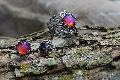 Mexican Fire Opal Ring and Earrings Huge Sale Free Shipping US Low international