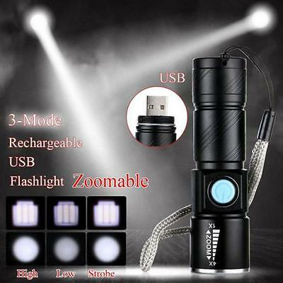 Adjustable LED Zoom 3000LM MINI USB Rechargeable Flashlight Torch Portable Black