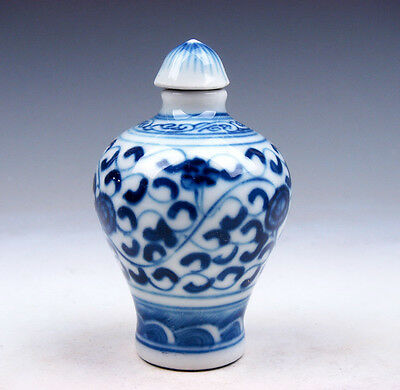 Blue&White Porcelain QingHua Floral Patterns Painted Snuff Bottle #02081705