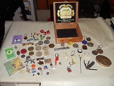 LOT Antique Vintage Jewelry PINS Casino Coins Tokens Key Chains Charms