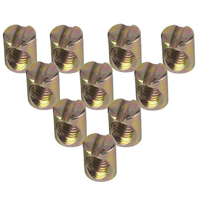 10 pcs/pack M6 Barrel Bolts Cross Dowel Slotted Furniture Nut Beds Crib Chairs