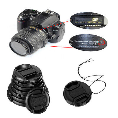 NEW 49/52/55/58mm Center Pinch Snap on Front Lens Cap Cover for Canon Nikon Sony