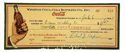 Coca-Cola Vintage Check From the Winston Coke Bottling Co. Dated in the 30s