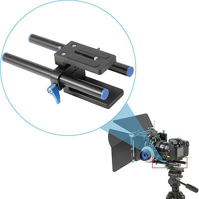 "Neewer DSLR Rail 15mm Rod Support Baseplate with 1/4"" Screw Quick Release Plate"
