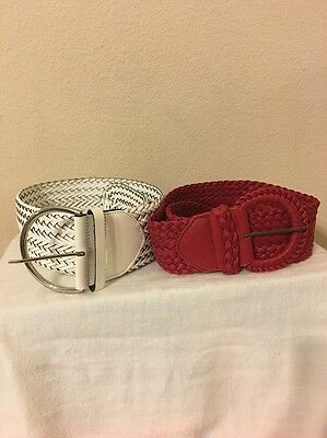 Lot 2 Wide Woven Belt White Red S/M Retro Vintage