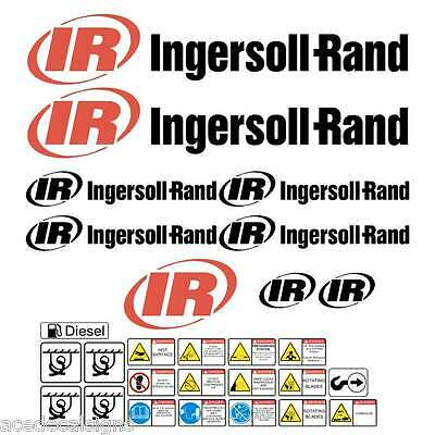 Ingersoll Rand Decals Stickers for Compressor IR Decals  + FREE SAFEY STICKERS