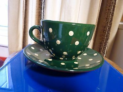 Devon Pottery Giant Cup And Saucer - Dark Green - Collectable  -  Perfect