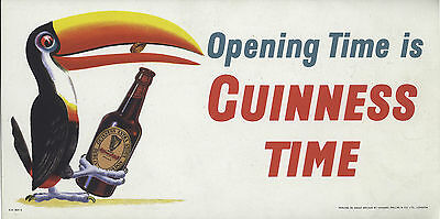 """opening Time Is Guinness Time"" Rare Retro Reproduction Poster"