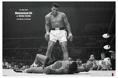 """MUHAMMAD ALI Vs SONNY LISTON LAMINATED POSTER """"FIRST ROUND FIRST MINUTE LICENSED"""