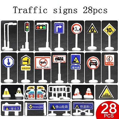 28 pcs / lot Children DIY Mini Traffic Sign Board Scene Gifts Educational Toys