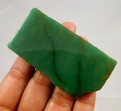 170 Cts. 100%  NATURAL GREEN JADE SLICE ROUGH LOOSE CAB GEMSTONE (T273)