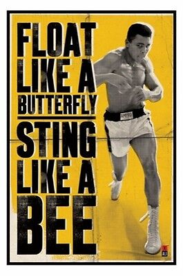 """MUHAMMAD ALI laminated POSTER """"FLOAT LIKE A BUTTERFLY STING LIKE A BEE"""" LICENSED"""