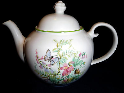 Royal Victoria Pottery Wade Tea Pot with wild flowers and butterflies. FREE POST