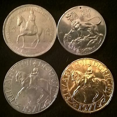 3 UK coins + 1939/45 Service medal/ coin, 1953 Five shillings + 1977 silver jubi