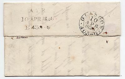 1826 Scots letter Glasgow and Ayr mileage marks.