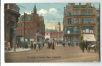 Leicestershire Leicester Entrance To Market pace Vintage Postcard 21.01