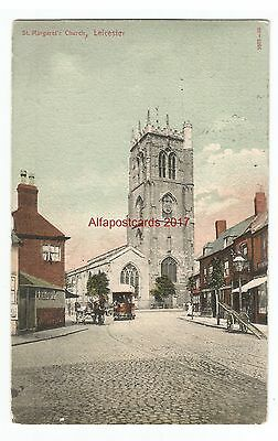 Leicestershire Leicester St. Margaret's Church Vintage Postcard 21.01