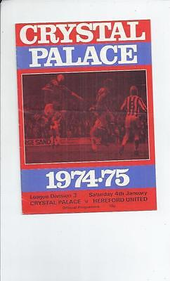 Crystal Palace v Hereford United Football Programme 1974/75