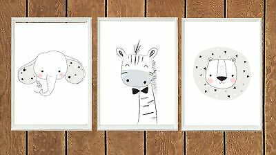 Set 3 Woodland Safari Animal Prints Poster Print Nursery Boys Decor Wall Art