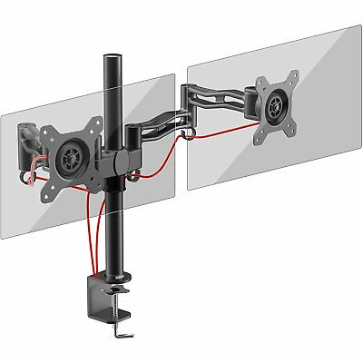 Duronic DM352 /BK Double 2 Computer Monitor TV Screen Desk Mount Arm 13 - 27""