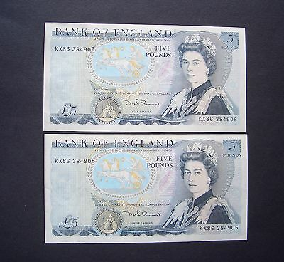GB, Pair of  consecutive numbered, Series D Five Pound Notes, 1980, GVF