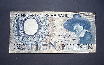 Netherlands,1944, Amsterdam 10 Gulden Banknote, Fine Condition