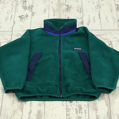 Kids Vintage Green Patagonia Fleece Jacket Used Preloved One Size (X2314)