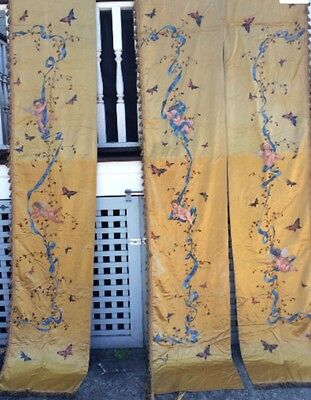 3 Panels FRENCH SILK DRAPES CURTAINS Hand Painted Cherubs Golden Color